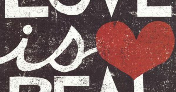 Love Is Real Grunge Square Art Print by Michael Mullan at Art.com