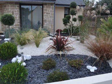 Jardin Mineral Creation Jardin Amenagement Jardin Devant Maison Parterre De Fleurs