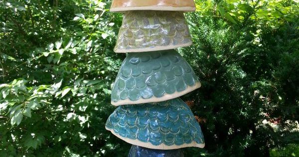 Stoneware hanging fish windchime wild acorns art studio for Koi fish wind chime