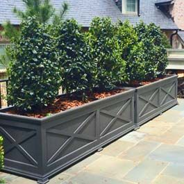Long Custom Grey Planter With X Pattern Design On Front Large