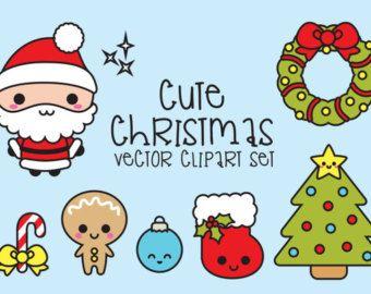 Premium Vector Clipart Kawaii Shopping Clipart Kawaii Etsy Imagenes De Navidad Kawaii Dibujo De Navidad Garabatos De Navidad