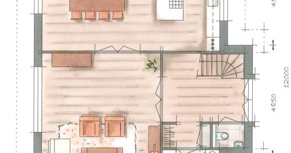 Villa groot koolwitje plattegrond begane grond huisje for Trap tekenen plattegrond