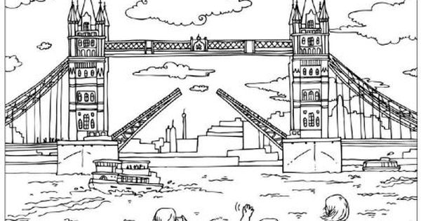 tower bridge colouring page  london colouring page