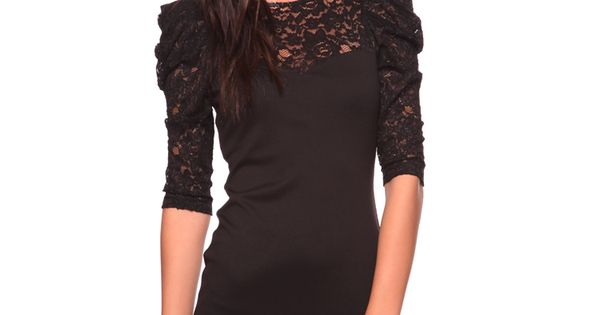 black lace sleeves dress - THIS IS THE STYLE SHE WANTS -