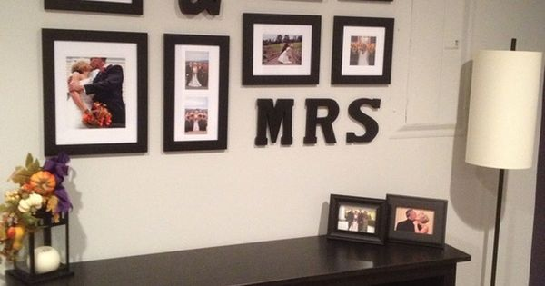 Wedding photo display (could also be done with children's names)..super cute idea