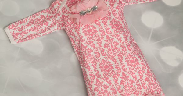 Infant Pink Damask Layette Cotton Baby Gown with Pink Chiffon Flowers and