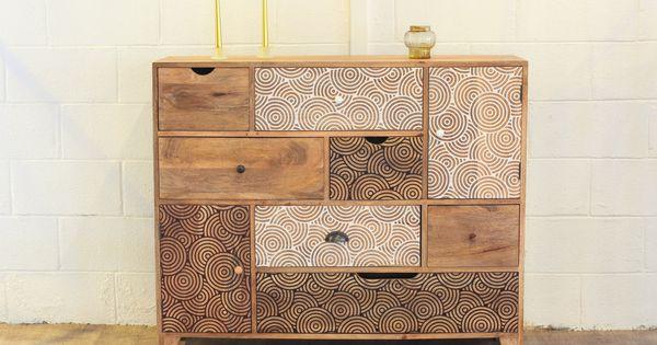 Commode design bois 7 tiroirs 2 portes commode bois de for Meuble commode design