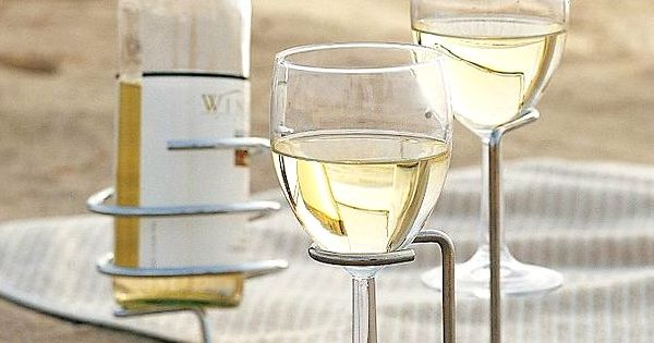 Outdoor wine glass holders for the beach wine glass for Beach wine glass candle holders