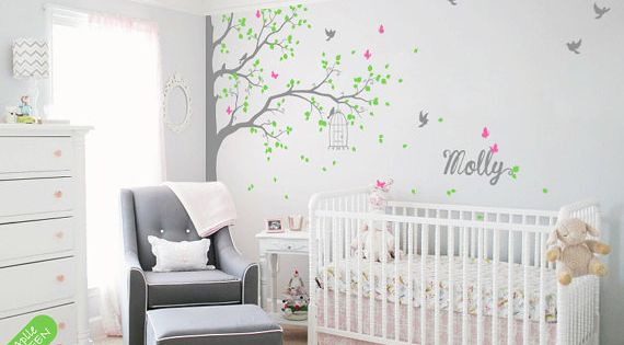Sticker mural angle arbre sticker mural avec cage oiseaux for Autocollant mural personnalis
