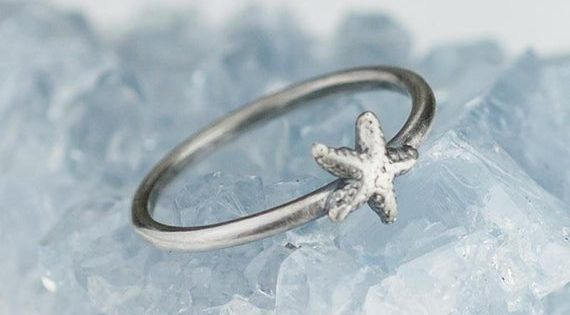 Sterling Silver Starfish Ring Solid 925 Ocean Beach Rings Custom Size