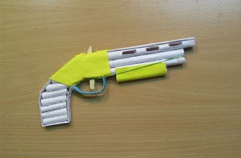 How To Make A Paper Gun 1887 That Shoots Rubber Bands