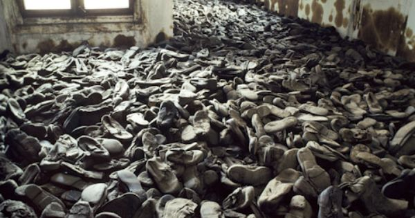 Photograph of room of shoes of murdered Jewish children at Majdanek, the