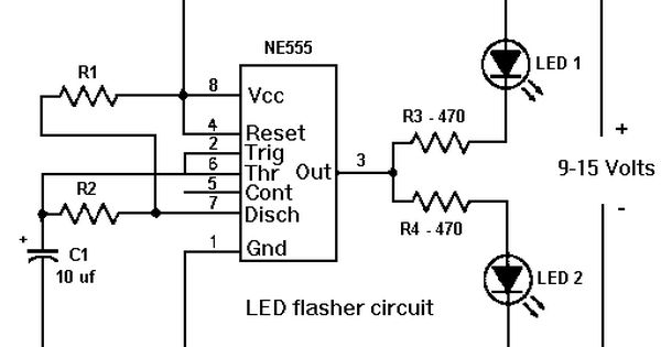 555 timer led flasher circuit