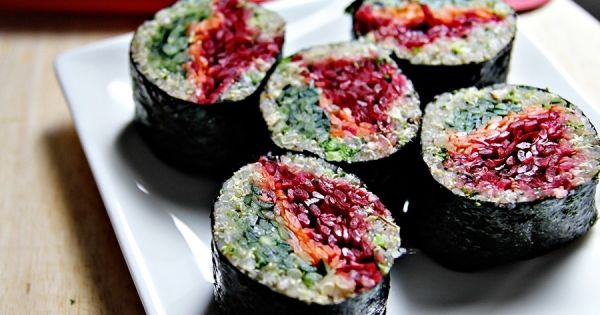 Quinoa sushi with beetroot, carrot, and cucumber. High fiber sushi roll? Count