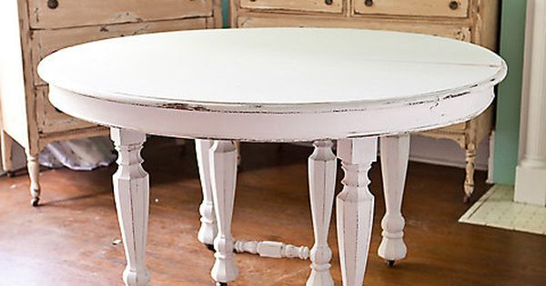 Antique Dining Table Shabby Chic White Distressed Kitchen