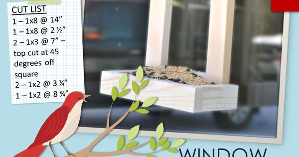 Build a window bird feeder. Free and easy DIY project and furniture