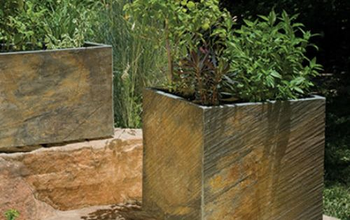 Slate tile planter ~ Simple, elegant cube-shaped planters like these from Stone