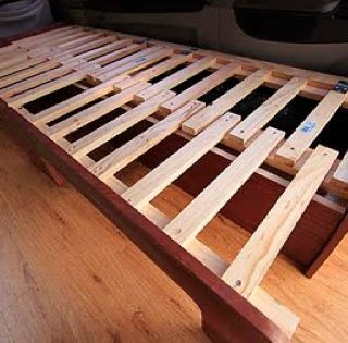 Van Conversion Slat Bed 15 Slats On Each Half And Two Hinges Per Half For The Lifting Make One Of The Slats Extra Long On Each Half So That It