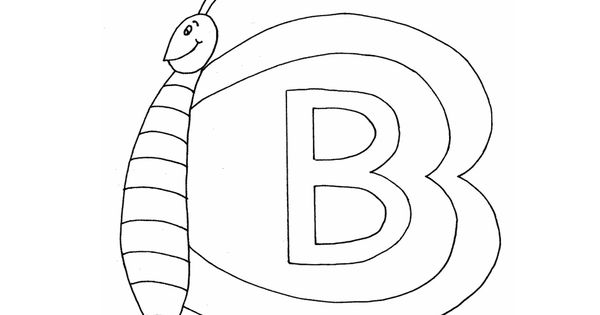 Library Coloring Pages For Kindergarten : Alphabet coloring pages b for butterfly