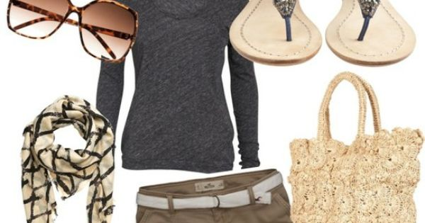 Casual summer or spring outfit! Brown cargo shorts with black shirt and