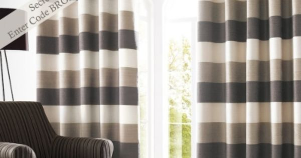 Bromley Stripe Lined Eyelet Curtains Mocha Shtory