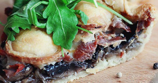 Mushroom tart, Prosciutto and Tarts on Pinterest