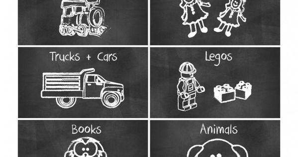 Free Printable Cute Chalkboard Kids Toys Organization