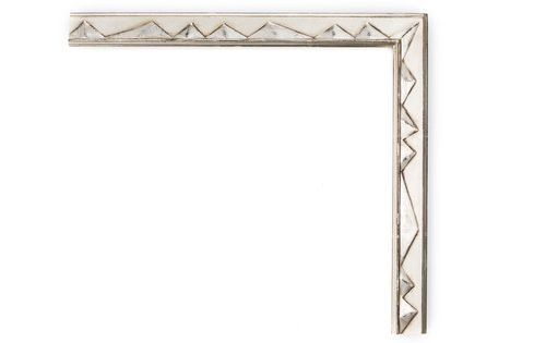 White Gold With Pyramids 1 1 4 White Gold Black Clay Drawing Frame With Alternating Raised Pyramids In Panel