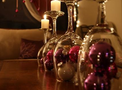 Love this idea! Everyone has wine glasses, ornaments and candles. christmasdecor