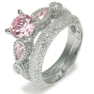 Pink Cubic Zirconia Sterling Silver Wedding Ring Fashion Set Pink Diamond Wedding Rings Wedding Rings Sets Gold Sterling Silver Wedding Rings
