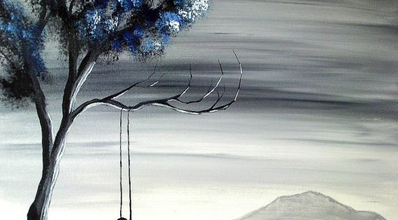 The Girl on the Swing II - Original acrylic landscape painting
