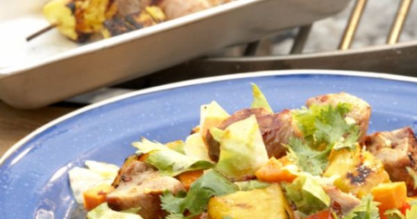Latin-style Cabbage Salad With Grilled Pork And Pineapple Recipe ...