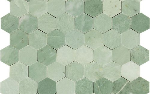 Kitchen Bathroom Hexagon Mint Green Gold Specks Polished