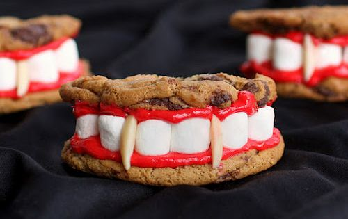 Vampire cookies! Your favorite cookie dough recipe or premade dough..frosting and food