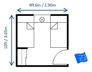 10ft X 19ft 6in Bedroom Size For Twin Beds Allows For The Minimum Recommended Space Between The Beds You Ca Bedroom Size Small Bedroom Layout Bedroom Layouts