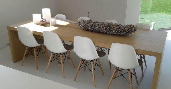 Eiken tafel eames stoelen tafel deco home pinterest eames chairs living rooms and house - Stoelen eames ...