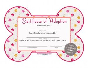 Certificate Of Adoption Girl Poochpawty Puppyparty