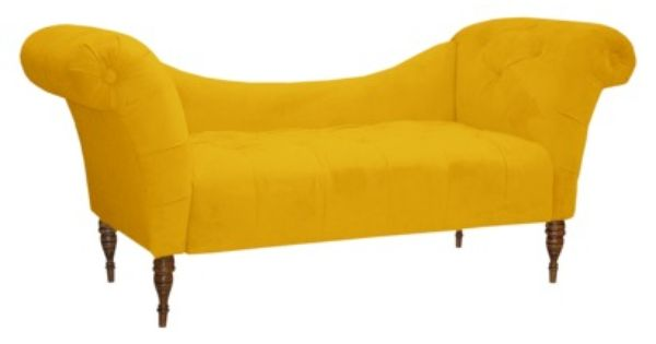 Button tufted chaise settee velvet canary for the for Button tufted velvet chaise settee green