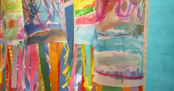 Kindergarten Line Windsock. Watercolor Resist painting, streamer lines