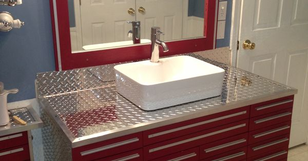 Craftsman Tool Box Vanity with Vessel Sink | Unique ...