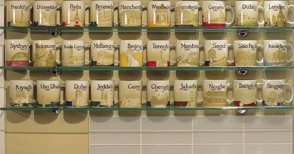 Glass Shelves Showcasing Starbucks City Mugs Collections Home Decor Pinterest Glass