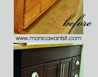 DIY tutorial on how to change golden oak cabinets to a rich