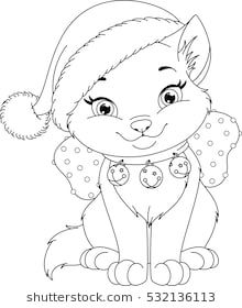 Christmas Cat Coloring Page Christmas Coloring Pages
