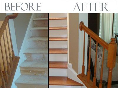 Tips To Remember When Come To Replace Carpet In Home   Converting Carpeted Stairs To Hardwood   Stair Case   Treads   Staircase Makeover   Stain   Wood Flooring