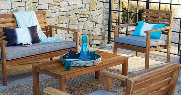 Salon de jardin 4 pi ces acacia wilma r alis s en acacia for Mobilier de jardin la redoute