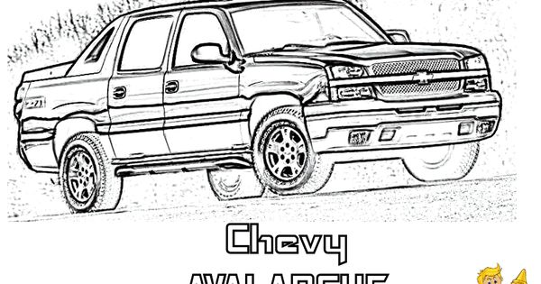 chevy avalanche pickup truck coloring page  you can print