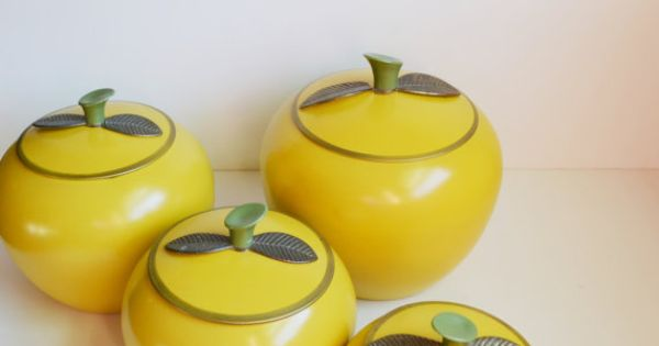 yellow apple canisters apple containers retro kitchen aluminum canisters cookie jars tea tins. Black Bedroom Furniture Sets. Home Design Ideas