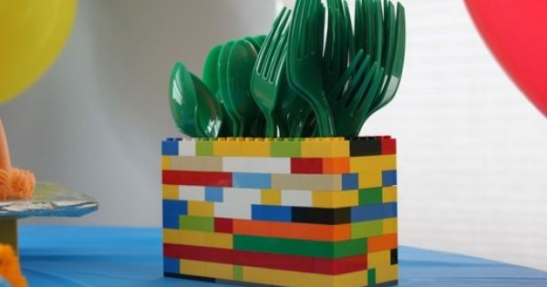 Lego Party Silverware Holder or Pencil holder
