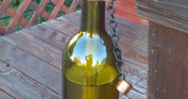 Turn empty wine bottles into Tiki torch. Gotta do this with all