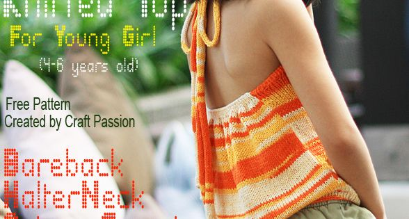 Girl Halter Top - Free Knitting Pattern Summer, 4 year olds and Girls